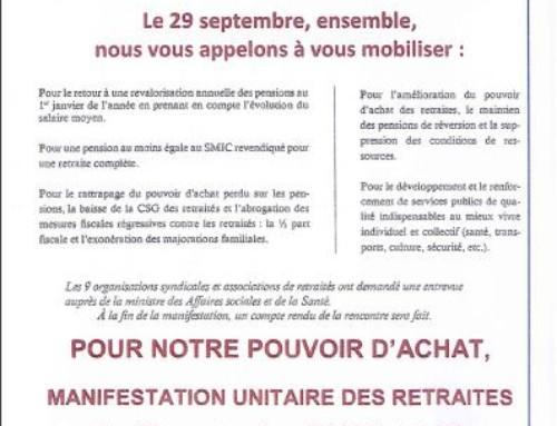 Complément à l'Appel des 9 Organisations de Retraités et Retraitées : Mobilisation le 29 septembre pour une véritable revalorisation de nos retraites et pensions dès le 1er octobre 2016