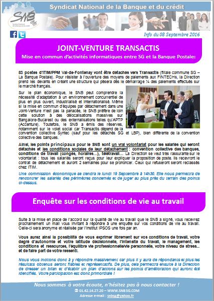Joint Venture Transactis Enquete Sur Les Conditions De Vie Au